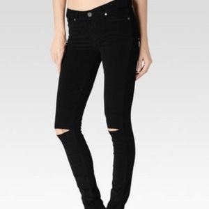 Paige Black Destroyed Low Rise Corduroy Jeans